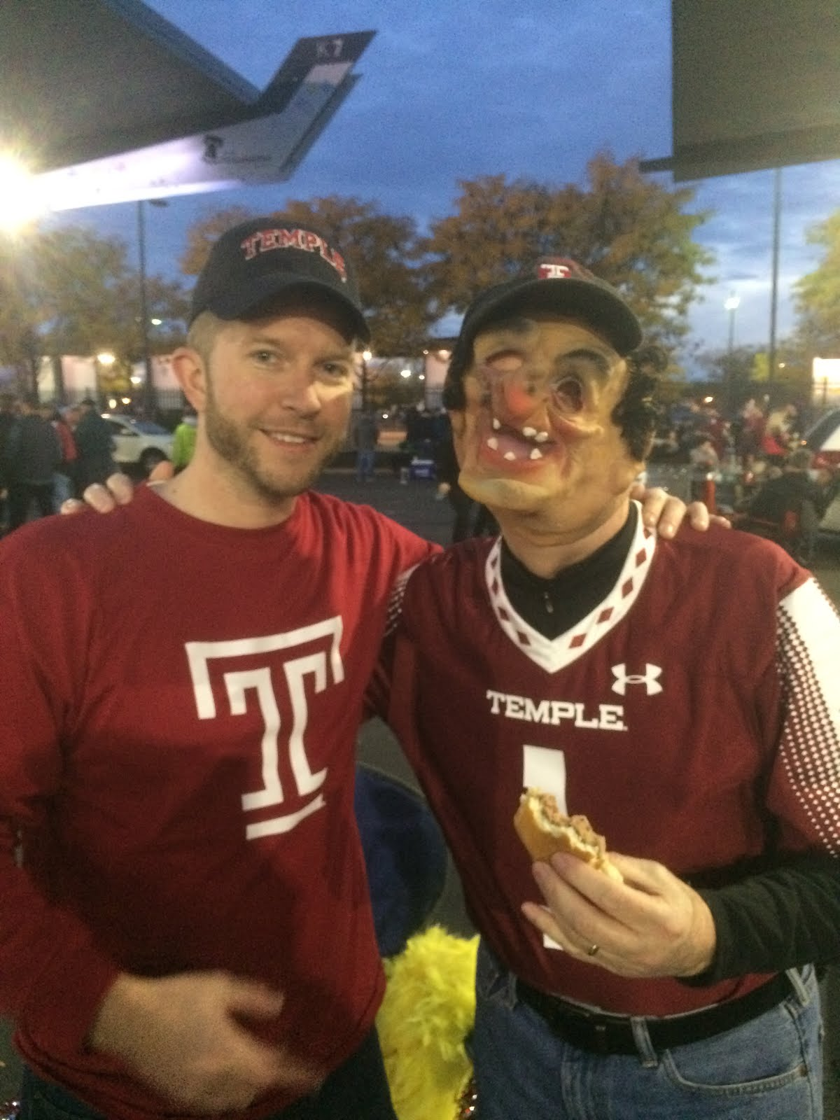 "Ron and son Matt at ""The Greatest Tailgate"" prior to the Temple vs Notre Dame game on Halloween."