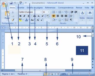 16 pon nombres a los elementos de la pantalla inicial de word 2007