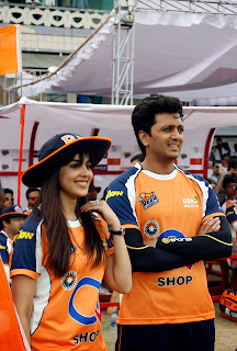 Genelia Pictures in Jeans at CCL 4 Cricket Match