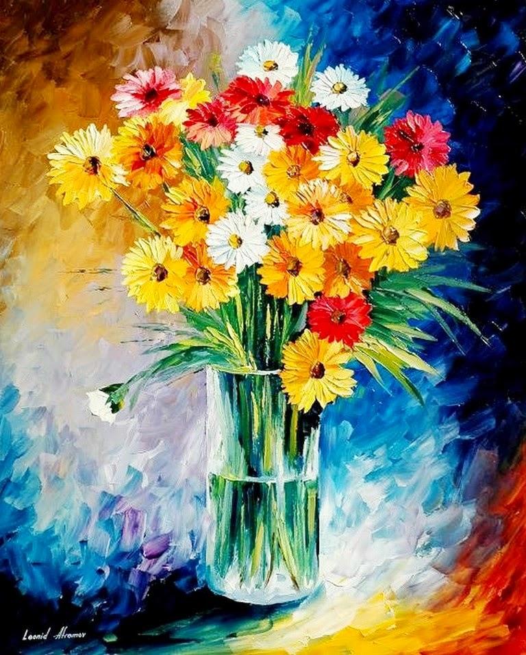 cuadros-modernos-de-flores-con-espatula