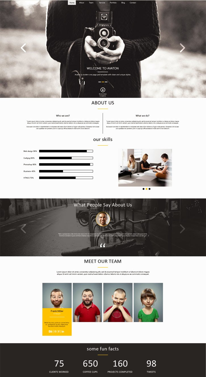 Free Unique One Page PSD Template