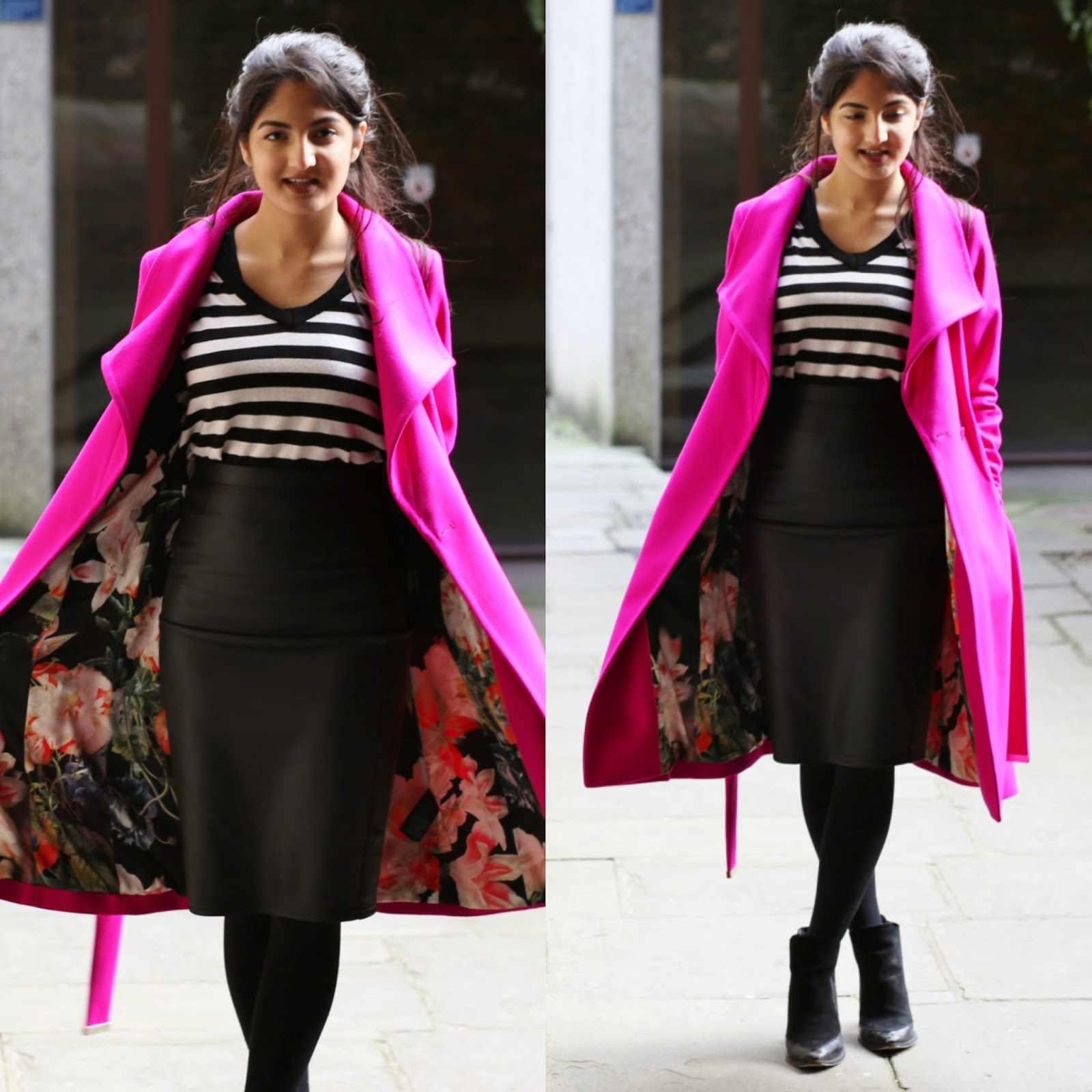 Work Outfit: Ted Baker Nevia belted wrap coat in deep pink, Leather pencil skirt, Monochrome Striped V Neck Jumper