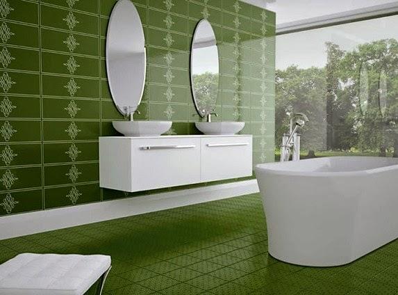 desain keramik kamar mandi warna hijau