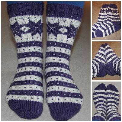 strikkeoppskrifter sokker med mønster