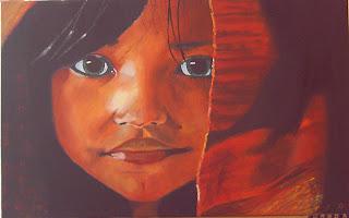 niña  hindú con manta roja