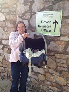 Newborn outside Devon Register Office, Newton Abbot