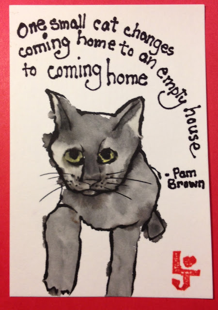 cat coming home etegami