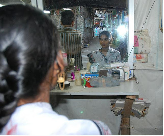 Indian Female Headshave in Saloon