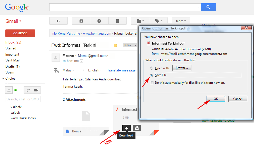 how to download ics file from gmail