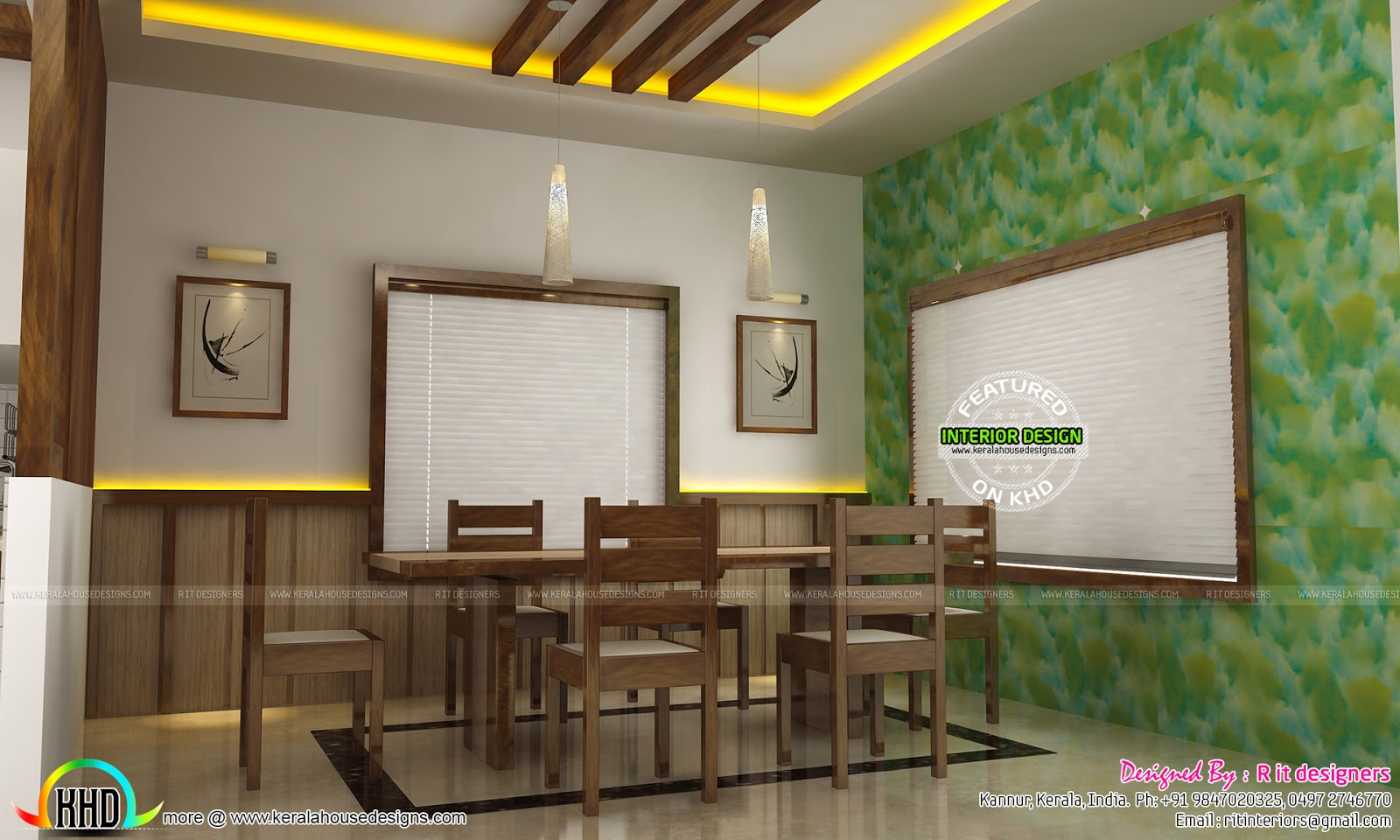 Dining kitchen living room interior designs kerala for Dining hall wall design