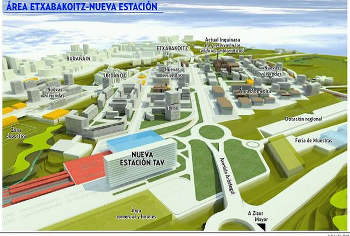 Imagen del proyecto de nueva estacin del TAV en Etxabakoitz