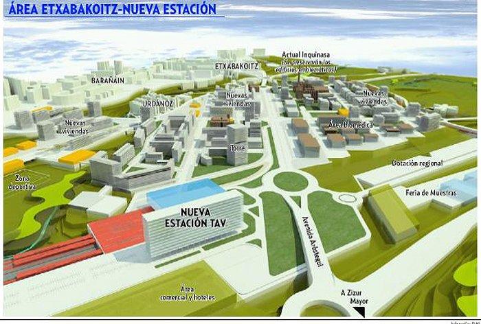 Recreación del hipotético proyecto de la zona residencial de la estación del TAV en Iruñea