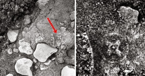 Ancient irish cross slabs carved in mars rock caught by
