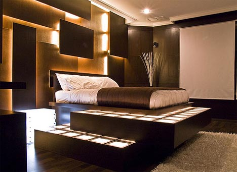 if you like the lights dim and hate to sacrifice the privacy of the bedroom decor is a wonderful combination of strategies uplighting around the bed wall. beautiful ideas. Home Design Ideas