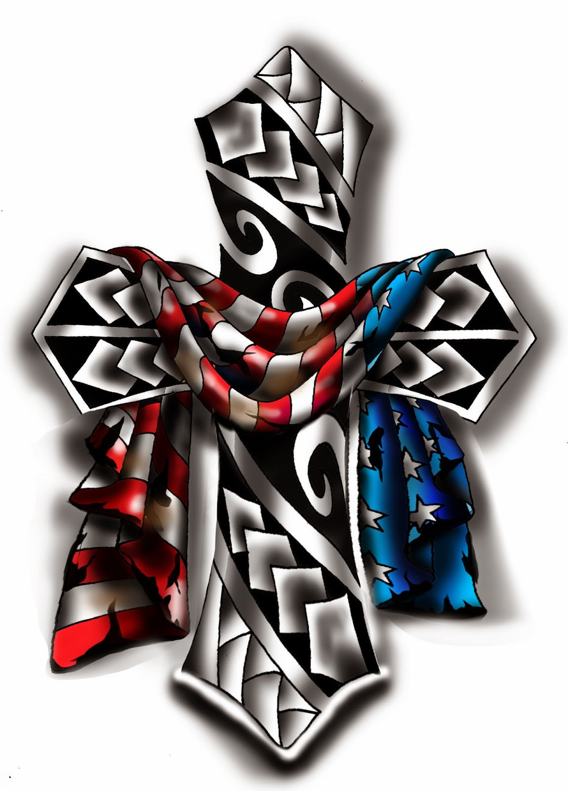 pam vale art and design blog american flag draped over a cross custom tattoo design. Black Bedroom Furniture Sets. Home Design Ideas