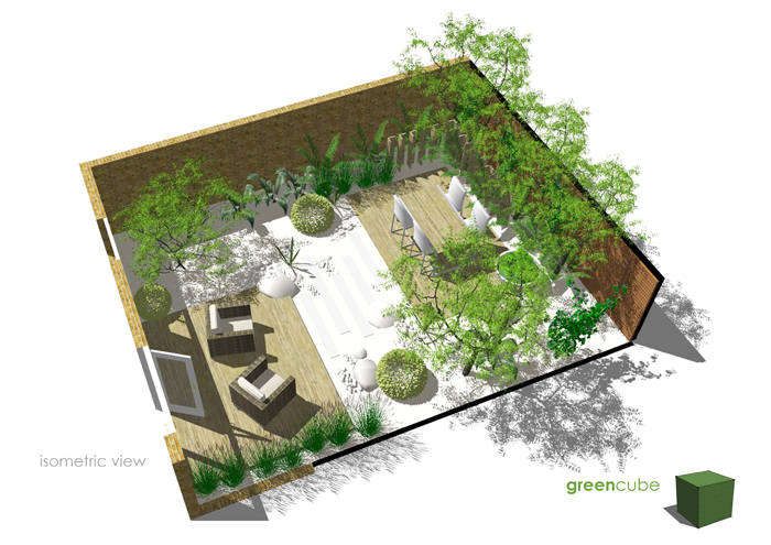 Greencube garden and landscape design uk courtyard for Courtyard landscape design
