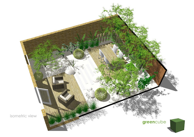 Greencube garden and landscape design uk courtyard for Very small courtyard ideas