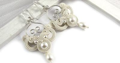 ażurowe kolczyki ślubne sutasz ivory z perłami