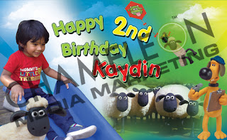 Shaun the Sheep Themed Birthday Banner and Invitations with child photo