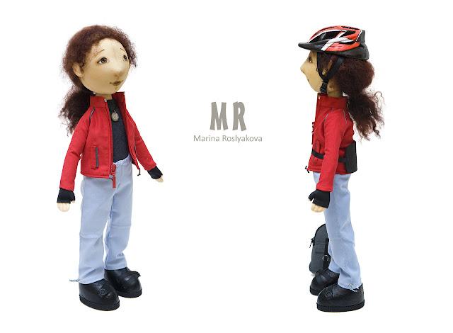 Велосипедистка. Текстильная кукла. Игрушки ручной работы. Марина Рослякова. Marina Roslyakova. Hand made toys.