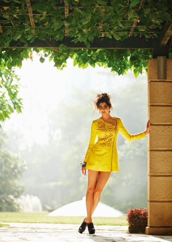Anushka Sharma in yellow mini-dress in Filmfare Magazine
