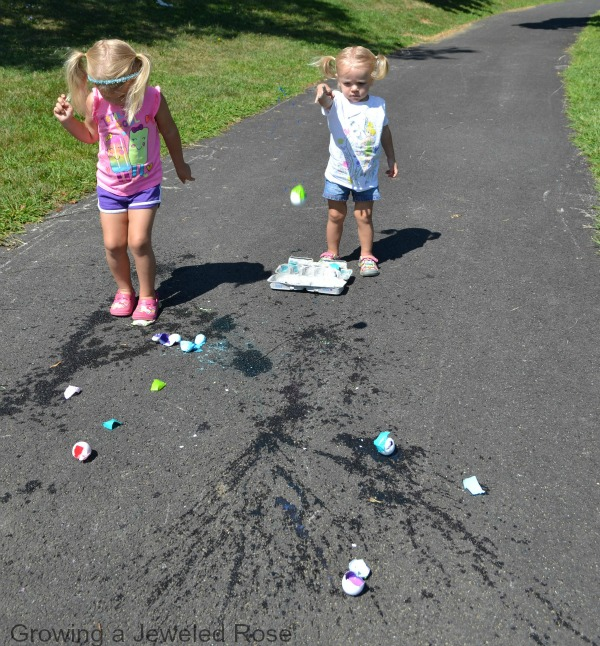 sidewalk egg crack painting
