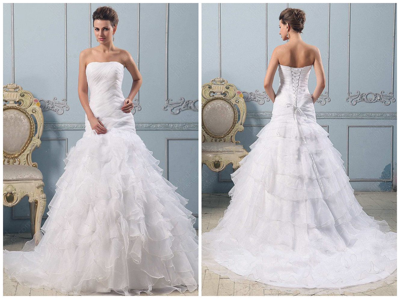 Strapless Wedding Dresses Ball Gown Lace | HD Wallpaper