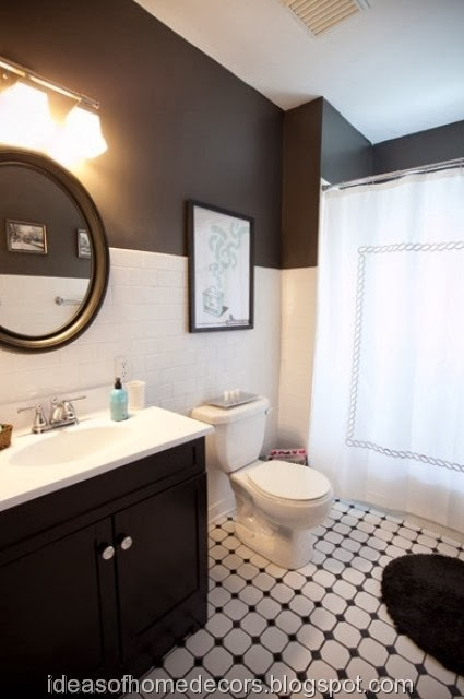 Black and white bathroom decoration ideas for Main bathroom design ideas