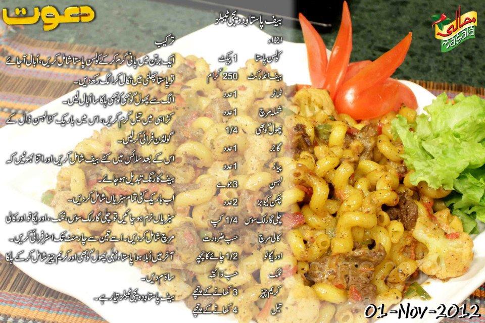 Beef Pasta Recipes In Urdu