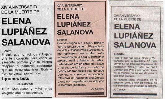 Noveno y décimo aniversario de la muerte de Elenita, El País, esquela, José Luis Casaus, Boris, Yuri