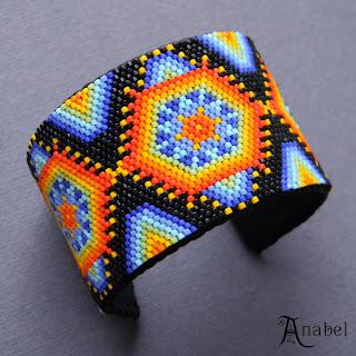 купить яркий этнический браслет из бисера украина