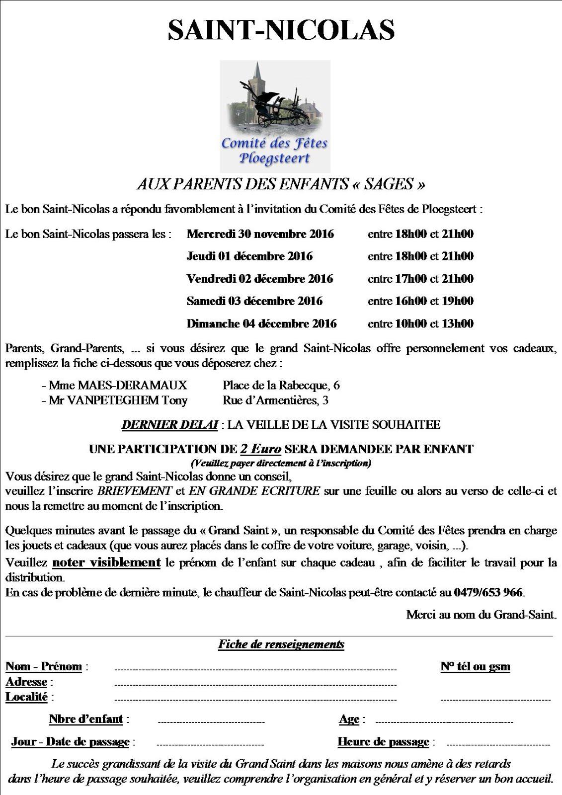 Le formulaire pour s'inscrire pour la tournée de SAINT NICOLAS de Ploegsteert+Le Bizet.