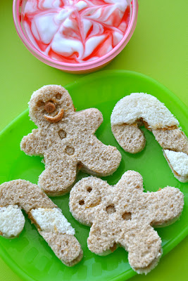 Gingerbread men &amp; Candy cane sandwiches