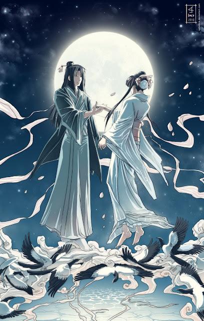 Ngưu Lang và Chức Nữ trong văn hóa Nhật Bản. Công chúa của bầu trời là Tanabata và người tình của cô ấy là Kengyu đứng trên một chiếc cầu được tạo nên từ những con chim ác là trên bầu trời. Hình ảnh bởi Anhellica từ blog của Lilliacerise.