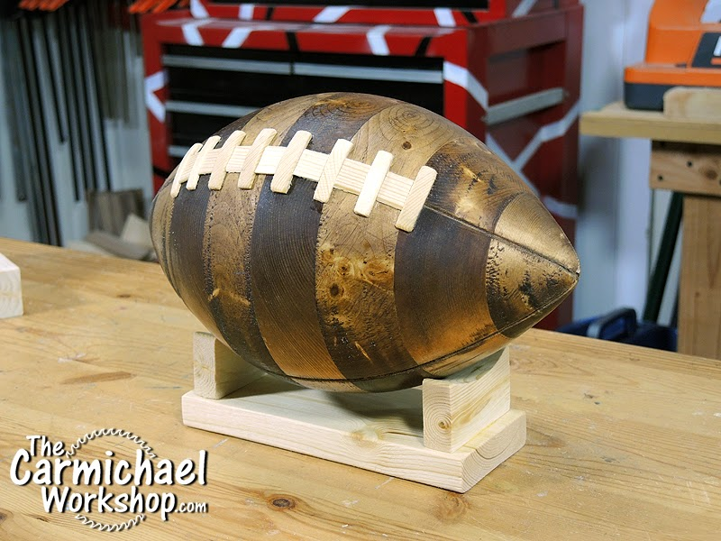 The carmichael workshop wooden nfl football made from a 2x4 for Cool things to build with 2x4s