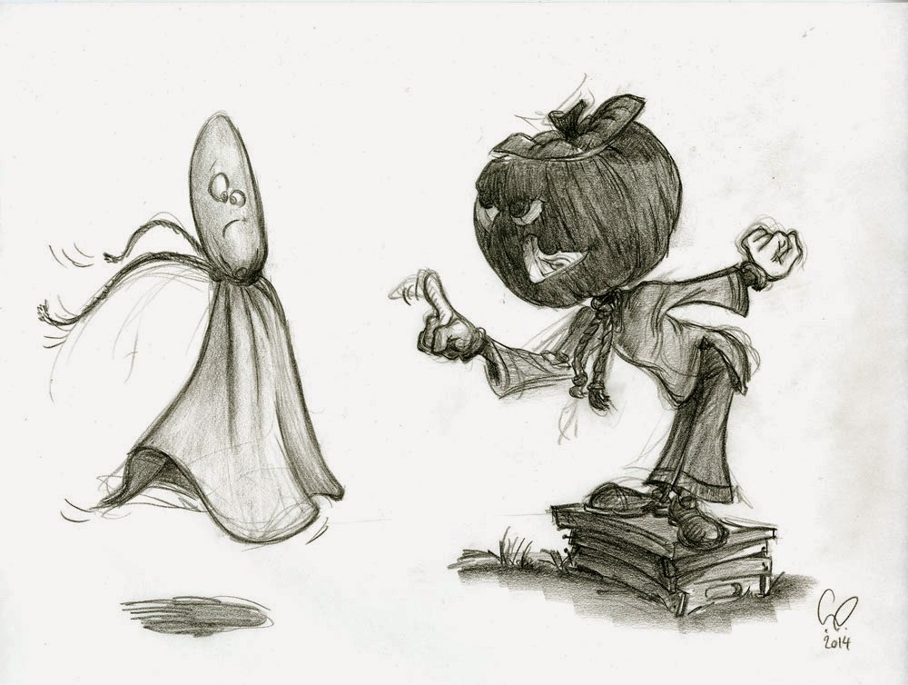 Halloween - Pumpkin Head and Ghost Characters - illustration drawing in pencil by Cesare Asaro - Creative Director at Curio & Co. (Curio and Co. - www.curioanco.com)
