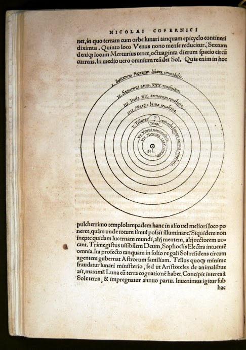 Copernicus's diagram with three orbits for the moon between Venus and Mars