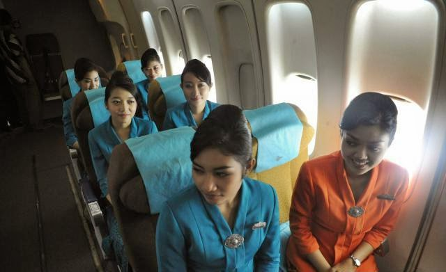 Beauty-gorgeous stewardess training in Garuda Indonesia