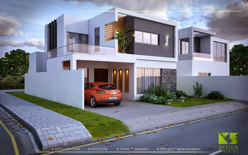 New modern 5 marla house design 3d front design blog for Home design 5 marla corner