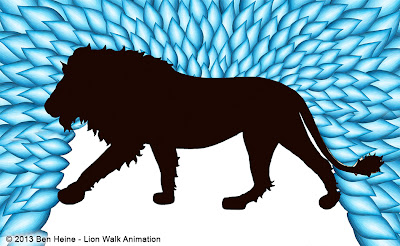 Lion Walk Animation - Sketch in Progress © Ben Heine