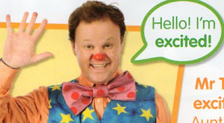 a picture of mr tumble saying he's excited