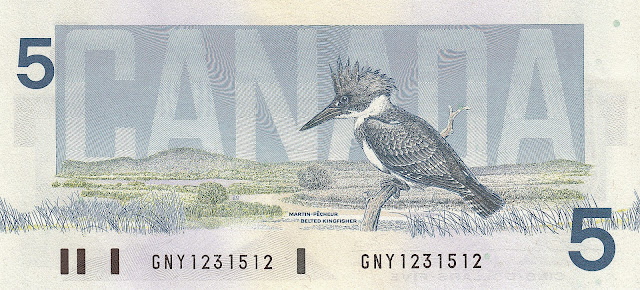 Canada money currency 5 Dollars banknote 1986 Birds, Belted Kingfisher