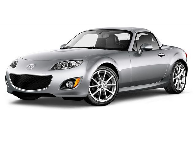 Silver 2011 Mazda MX-5 Miata Grand Touring PRHT with top up