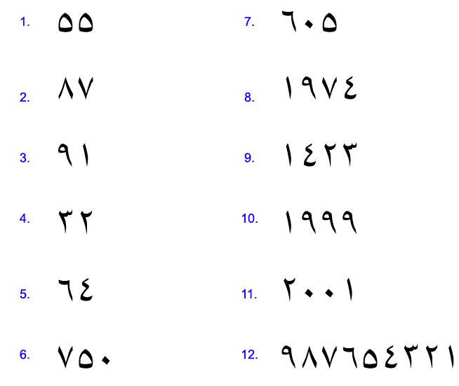 Arabic Numbers 1 10 | Car Interior Design