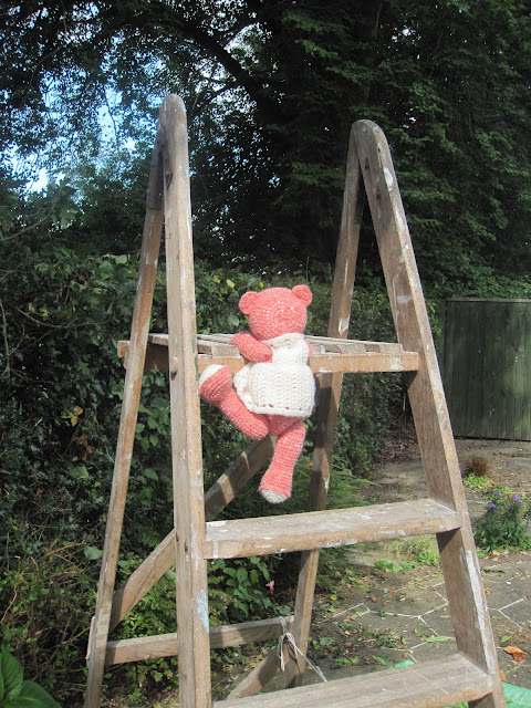 Fiddly Fingers crochet bear Taffy climbing top step ladder