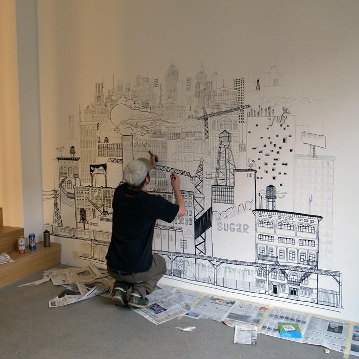 espacechallens13 rues parall les intervention sur le mur de leo olivier mathias. Black Bedroom Furniture Sets. Home Design Ideas