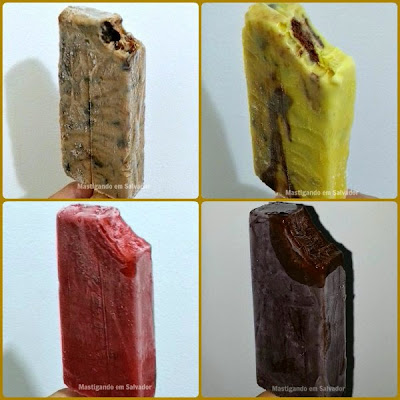 Los Paleteros: Paletas de Ameixa Preta, Trufa de Chocolate, Morango e Chocolate Belga