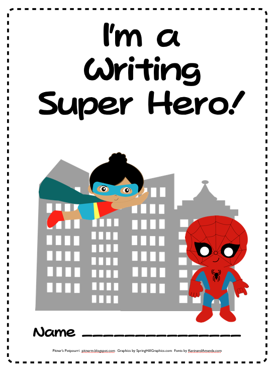 My kids L.O.V.E. our writing notebooks based on a super hero theme.