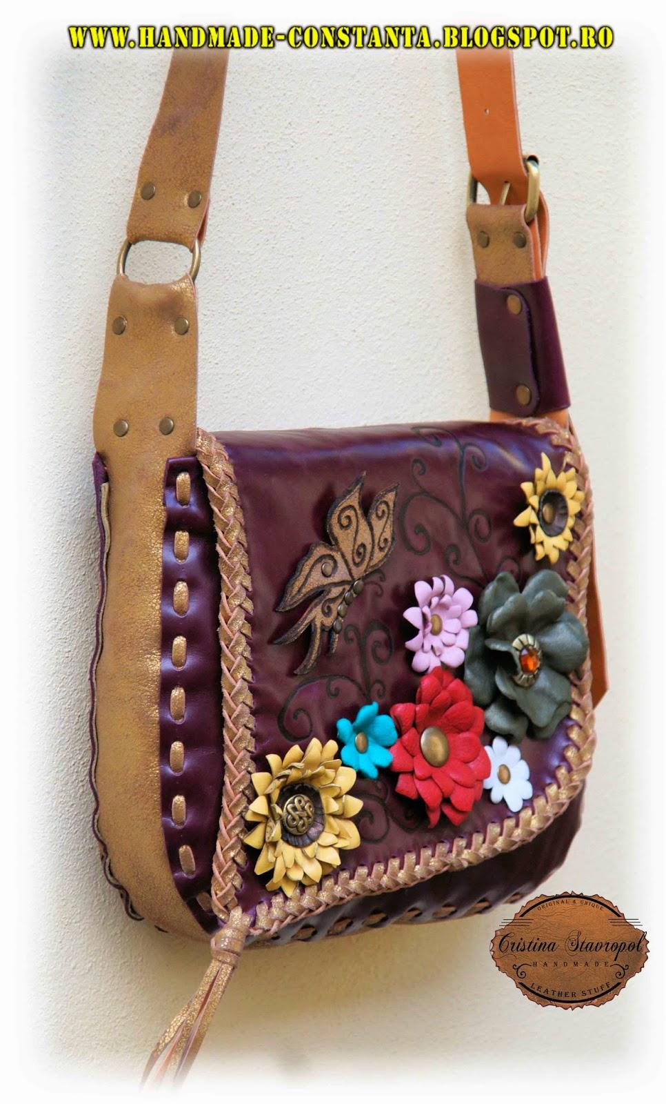 geanta din piele visinie