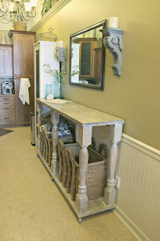 diy kitchen island, narrow kitchen island, kitchen console, annie sloan stripped paint finish, architectural salvage, corbels
